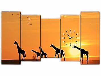 Orologi Da Parete In Tela : Tlg tela foto orologio da parete giraffe deserto murale su tela