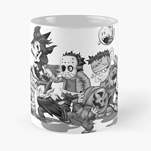 Cartoon Horror Ghost Knife - 11 Oz Coffee Mugs Unique Ceramic Novelty Cup, The Best Gift For -