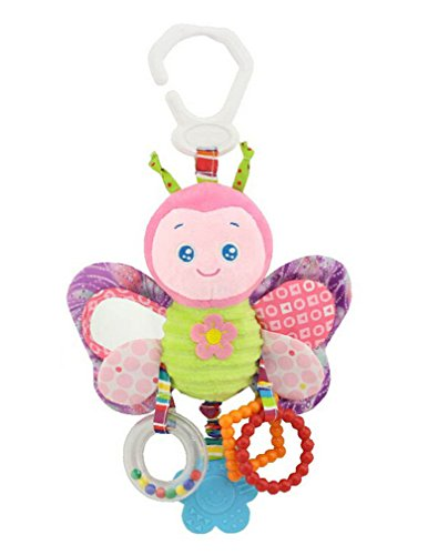 Baby Rattle Plush Stuffed Rattle Toy Link Soft Activity Toy For Crib High Chair Booster Car Seat Stroller (10 inches, Butterfly) Butterfly Stroller