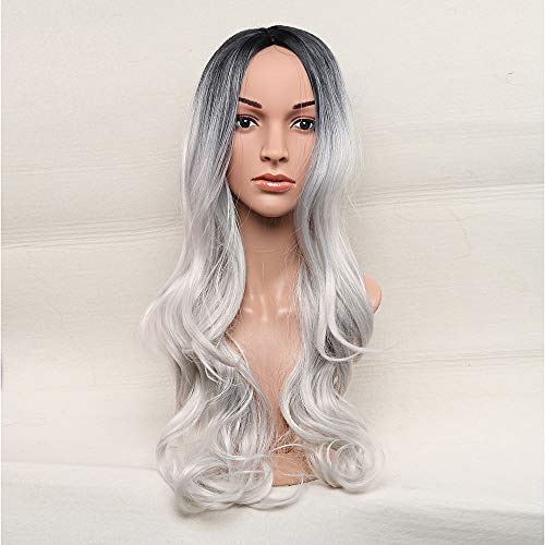 LONGLOVE European and American Fashion Black and Gray Gradient Wig Female Long Wavy Curly Hair Chemical Fiber Wig by LONG LOVE (Image #1)