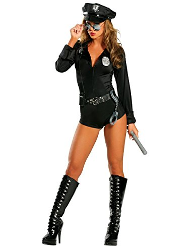 Roma Costume 7 Piece Lady Cop, Black, Medium/Large -