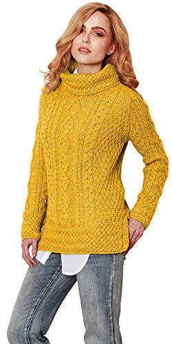 Carraig Donn Ladies 100% Merino Wool Vented Roll Neck Irish Jumper Sweater (Small, Yellow)