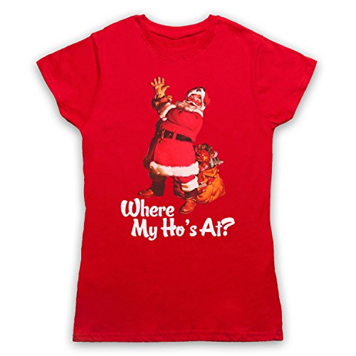 Where My Ho's At Santa Claus Father Christmas Funny Parody Slogan Camiseta para Mujer Rojo