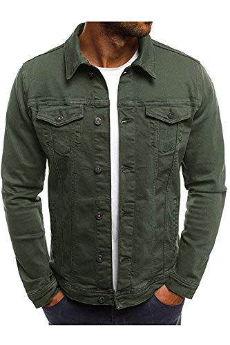 Hakjay Men's Unlined Denim Jacket Slim Fit Jeans Coat Long Sleeve Outerwear (Army Green, Medium)