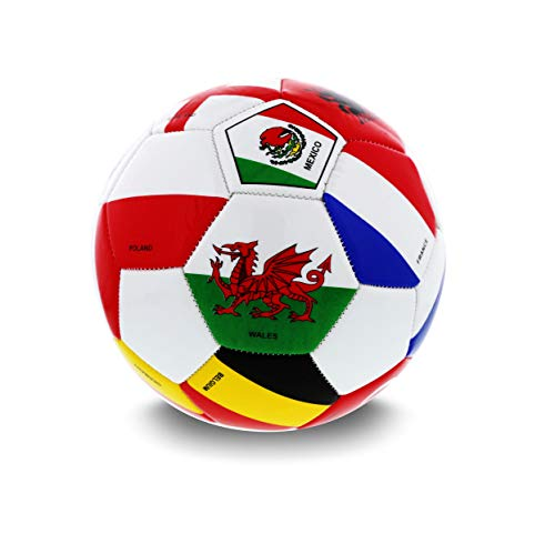 Mozlly Authentic Premium International World Cup Flag Union Soccer Ball, Size 5, PVC, Pratice or Play, Panel, Official Size Weight, Lightweight Durable, for Youth Adults - Sports Accessories and -