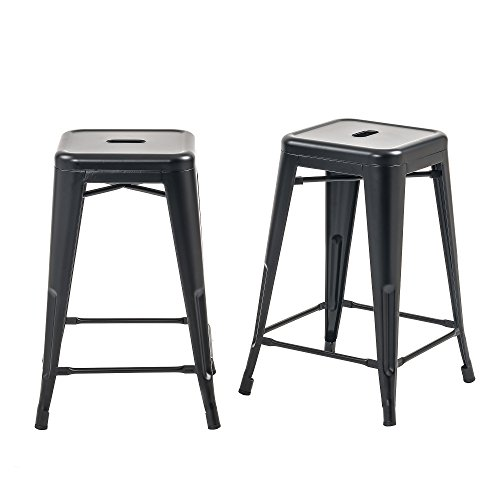 (Buschman Set of 2 Matte Black 24 Inch Counter Height Metal Bar Stools, Indoor/Outdoor, Stackable )