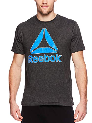 Reebok Men's Graphic Workout Tee - Short Sleeve Gym & Training Activewear T Shirt - Birch Del Charcoal Heather, Large