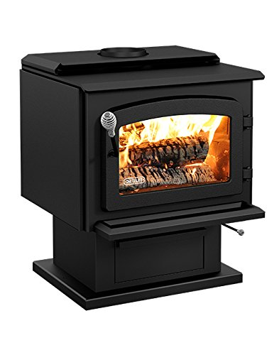 Drolet Wood Stove On Pedestal Model Escape 1800 - Black Door DB03102 - Pedestal Wood Stove