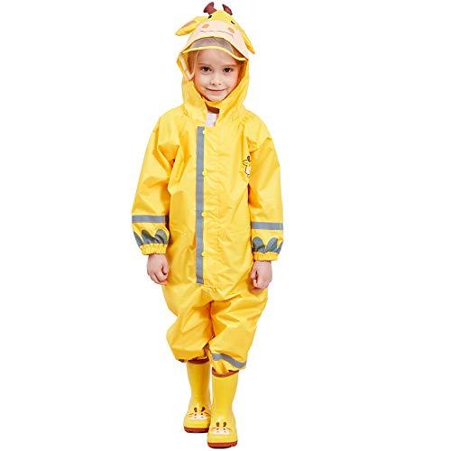 Bwiv Regenjas voor kinderen, waterdicht, ademend, eendelig regenpak voor jongens en meisjes, regenjas met reflector…