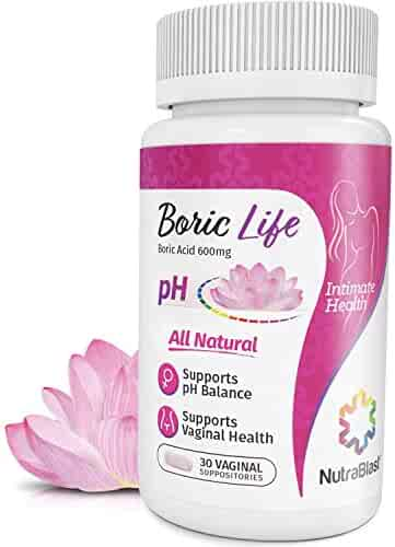 NutraBlast Boric Acid Vaginal Suppositories - 30 Count, 600mg - 100% Pure Made in USA - Boric Life Intimate Health Support …
