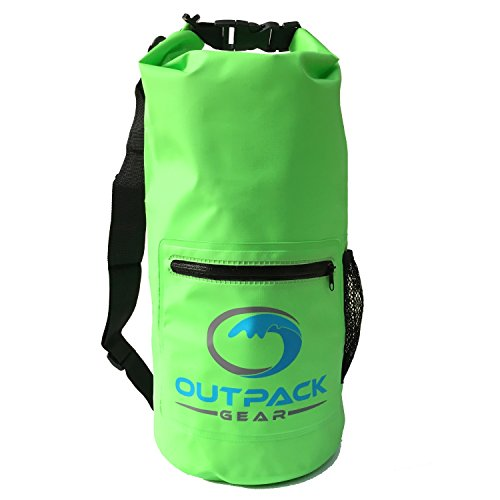 Outpack Gear Dry Bag Waterproof Backpack | Lightweight Daypack Sports Sackpack | Roll Top, Zip Pocket, Water Bottle Holder, Shoulder Straps | Kayaking Beach Boating Gym Hiking Swim Camping | Green 10L