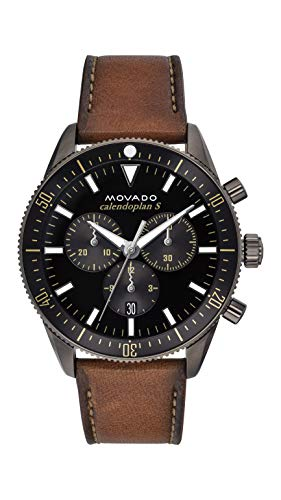 Movado Men's Heritage Chronograph Watch with a Printed Index Dial, Grey/Brown/Black (Model 3650060)