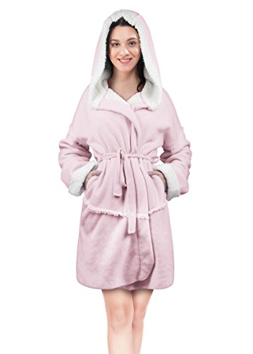 (Women's Hooded Robes Soft Warm Short Plush Fleece Bathrobe Sherpa Lined Dressing Gown Pink)