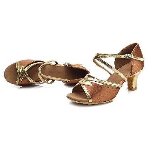 HROYL Zapatos de baile/Zapatos latinos de satén mujeres ES7-F25 5CM Marrón