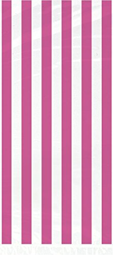 Striped Cellophane Bags, Hot Pink, 20 Count