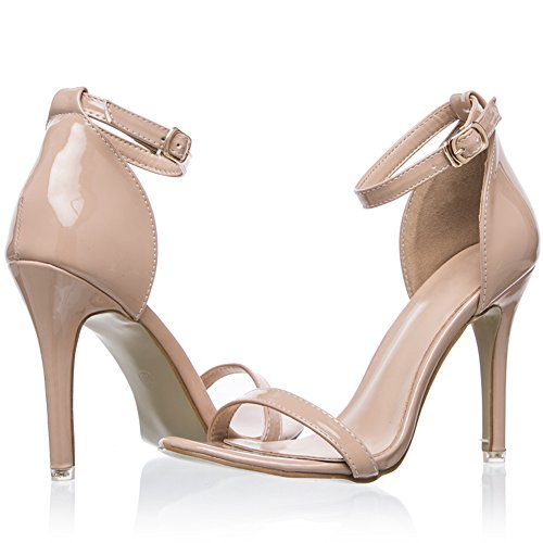 BIGTREE Ankle Strap Sandals Women Faux Patent Leather Open Toe High Heel Shoes Beige XmW0Q8MuY