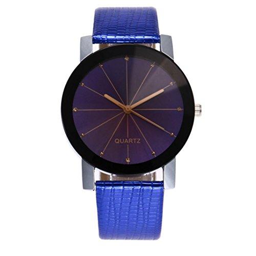 Top trend BEUU Hot Sale Leather Leisure Watch Men Simple Business Fashion Quartz Wrist (Blue)
