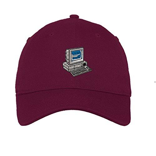Burgundy Desktop Accessories (Desktop Computer Twill Cotton 6 Panel Low Profile Hat Burgundy)