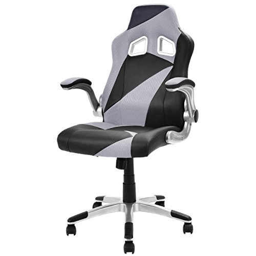 41VZVKATTBL - Giantex-Executive-Racing-Chair-PU-Leather-Bucket-Seat-Gaming-Chair-Desk-Computer-Gray