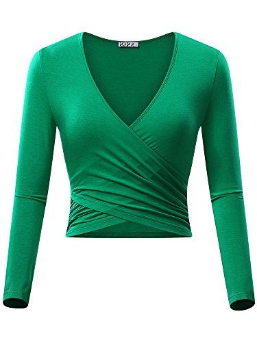 KIRA Women's Deep V Neck Long Sleeve Unique Cross Wrap Slim Fit Crop Tops (X-Large, (Green Womens V-neck T-shirt)