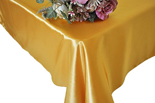 Wedding Linens Inc. 72″ x 120″ Rectangular Seamless satin tablecloths Table Cover Linens for Restaurant Kitchen Dining Wedding Party Banquet Events – Gold