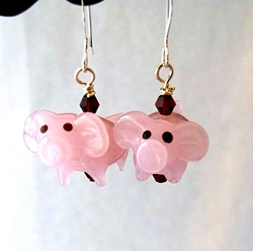 Pink Pig with Purple Eyes Lampwork Dangle Earrings ()