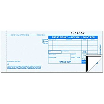credit card payment slip