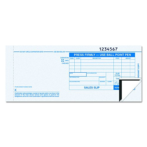 TOPS 38538 Credit Card Sales Slip, 7 7/8 x 3-1/4, Three-Part Carbonless (Pack of 100 Forms)
