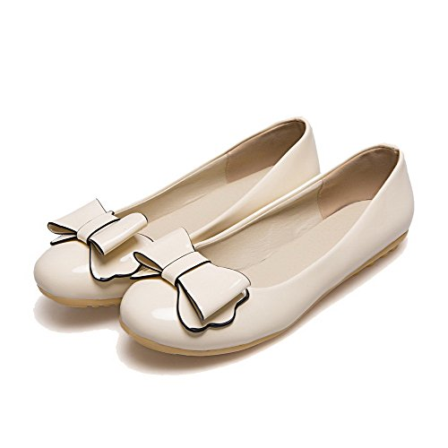 Odomolor Women's Solid PU Low-Heels Closed-Toe Pull-On Pumps-Shoes, Beige, 34