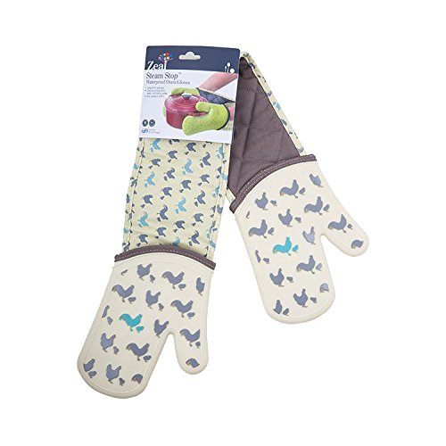 Zeal Steam Stop Silicone Waterproof Oven Mitts/Gloves, Hens design by Zeal