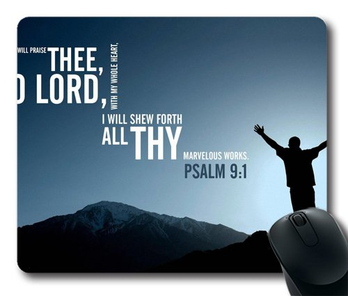 Psalm 9:1 Famous Bible Verse UCFO Customized Mouse Pad Rectangle Mouse Pad Gaming Mouse mat in 240mm*200mm*3mm NE07101035