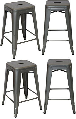 BTEXPERT 24-inch Industrial Metal Vintage silver Polished Counter Bar Stool Modern Backless commercial- Set of 4 barstool