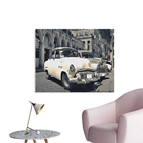 Anzhutwelve Vintage Car Mural Decoration Panoramic View of Shabby Old Havana Street with Vintage Classic American Cars Wall Poster Grey Beige W36 xL32