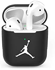 Gebaisi Protective Soft Silicone Charging Case Cover Skin for Apple Airpods No Keychain Black White D