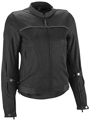 Highway 21 Aira Mesh Women's Motorcycle Jacket W/CE Armors/Reflective Piping/Water Resistant Liner Black Size Small -
