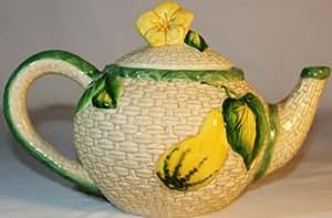 Omnibus OCI 40oz 1993 Vintage Teapot, Zuchinnin, Flower Wooven Look