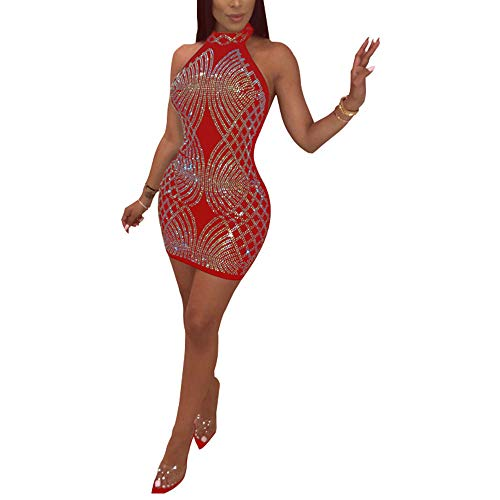 Women's Sexy Rhiestone Sequins Halter Neck Sleeveless Backless See Through Sheer Mesh Bodycon Clubwear Mini Dress Red XL