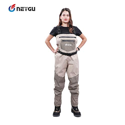NEYGU Quick-Drain Breathable Waders with 4mm Neoprene Stocking Foot for The Snow Wading and Rain Wading. The Chest Fishing & Hunting Wader is Keep Uers Warm in The Cold Water (L) ()