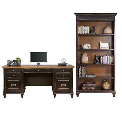 Hartford 2 Piece Credenza Desk and Bookcase Set in Two Tone Distressed - Black Distressed Bookcase