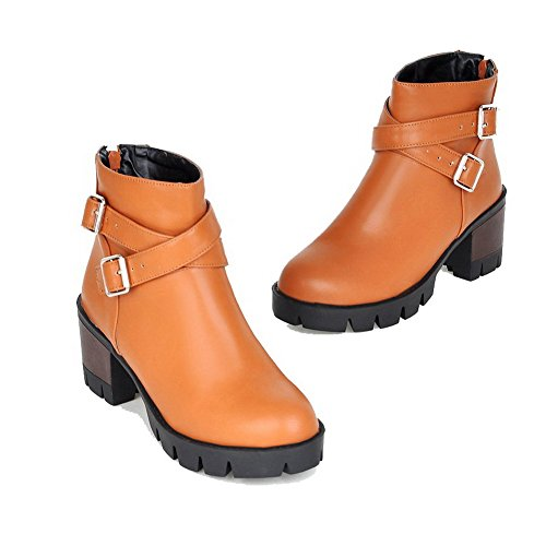 Brown Closed Round Boots Soft Women's Kitten Zipper Toe Solid Material Heels Allhqfashion RqBPWXwX