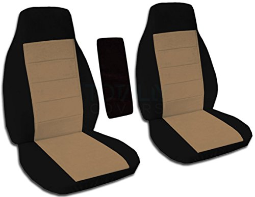 Totally Covers Fits 1991-1997 Ford Ranger/Explorer/Explorer Sport & Mazda Navajo/B-Series Two-Tone Truck/SUV Bucket Seat Covers w Center Armrest Cover: Black & Brown 1992 1993 1994 1995 ()