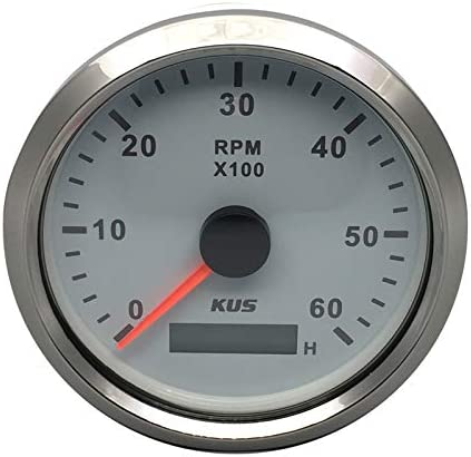 KUS Tachometer RPM Gauge REV Counter with Hour Meter 6000RPM 85mm 12V//24V with Backlight