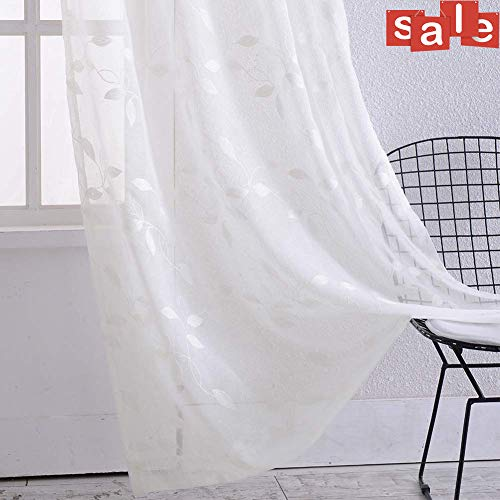 Haperlare Sheer Curtains, Leaf Embroidery White Sheer Window Curtains Faux Linen Textured Solid Grommet Voile Curtains for Living Room Bedroom, 52 x 84 Inch, 2 Panels