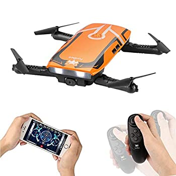 RC Quadcopter with 720P HD Wi-Fi Camera, FPV Mini Drone H818 Selfie Drone Foldable with Protective Case Gravity Sensor Control Altitude Hold for Kids and Beginners (Orange)