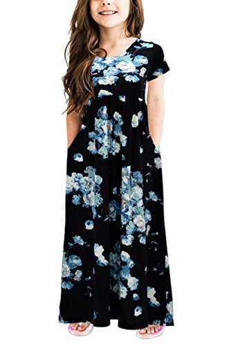 Gorlya Girl's Short Sleeve Floral Print Loose Casual Long Maxi Dress with Pockets 4-12 Years (4-5Years/Height:110cm, Blue Print) ()