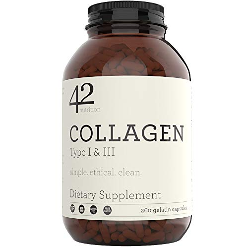 42Nutrition Collagen Pills Type I & III Supplements - 260 Gelatin Capsules with Vitamin C and Essential Amino Acids for Healthy Hair Skin Bones & Muscles - Gluten Free Non-GMO & Grass Fed