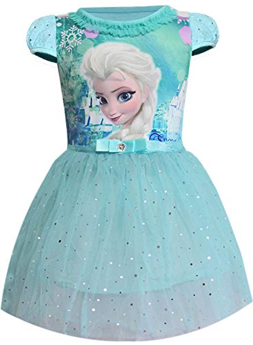 WNQY Toddler Cartoon Party Costume Little Girls Princess Elsa Gown Dress (Blue,130/5-6Y)