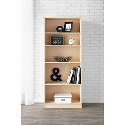 Mainstay` Orion Wide 5-Shelf Bookcase (Black, 5-Shelf) (Birch Laminate, 5-Shelf Standard)