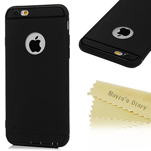 Mavis's Diary Coque iPhone 6 Plus/iPhone 6S Plus TPU Souple Housse de Protection Étui Téléphone Portable Découpe du Logo Noir Phone Case Cover+Chiffon