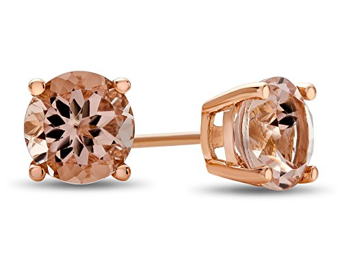 Finejewelers 6 mm Round Morganite Post-With-Friction-Back Stud Earrings 14 kt Rose Gold
